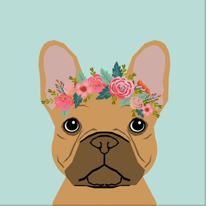 """18"""" Frenchie Fawn Pillow with cut lines - dog pillow panel, dog pillow, pillow cut and sew - floral"""