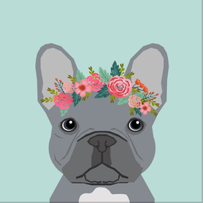 """18"""" Frenchie Grey Pillow with cut lines - dog pillow panel, dog pillow, pillow cut and sew - floral"""