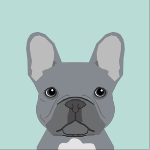 """18"""" Frenchie Grey Pillow with cut lines - dog pillow panel, dog pillow, pillow cut and sew -"""