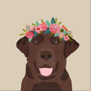 """18"""" Chocolate Labrador Pillow with cut lines - dog pillow panel, dog pillow, pillow cut and sew - floral"""