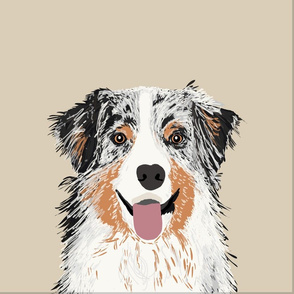 """18"""" Australian Shepherd Dog Blue Merle Pillow with cut lines - dog pillow panel, dog pillow, pillow cut and sew -"""