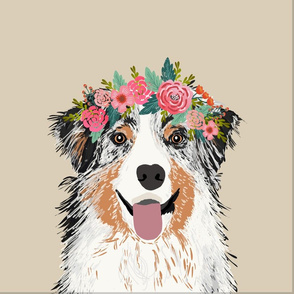 "18"" Australian Shepherd Dog Blue Merle Pillow with cut lines - dog pillow panel, dog pillow, pillow cut and sew - floral"