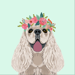 """18"""" Cocker spaniel Dog Pillow with cut lines - dog pillow panel, dog pillow, pillow cut and sew - floral"""