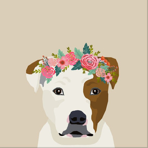 """18"""" Pitbull Brown and White Dog Pillow with cut lines - dog pillow panel, dog pillow, pillow cut and sew -floral"""