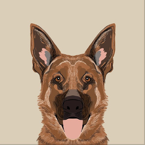 "18"" German Shepherd Dog Pillow with cut lines - dog pillow panel, dog pillow, pillow cut and sew -"