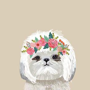 "18"" Shih Tzu Dog Pillow with cut lines - dog pillow panel, dog pillow, pillow cut and sew - floral"