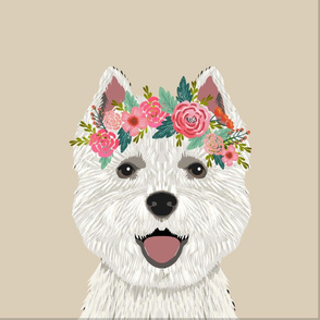 """18"""" Westie Dog Pillow with cut lines - dog pillow panel, dog pillow, pillow cut and sew - floral"""