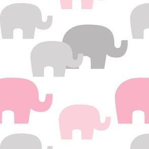 Pink Gray Elephant Baby Girl Nursery