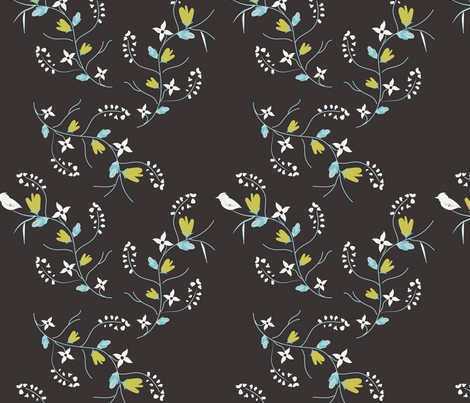 Spring Tweets on Charcoal fabric by applebutterpattycake on Spoonflower - custom fabric