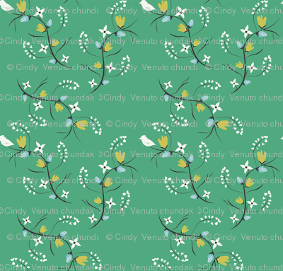 Spring Tweets on Green Small Print