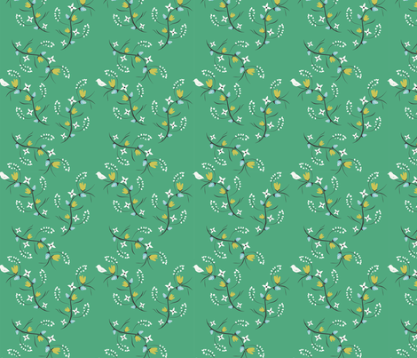 Spring Tweets on Green Small Print fabric by applebutterpattycake on Spoonflower - custom fabric