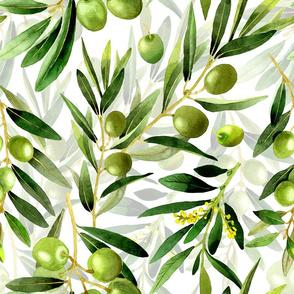 """18"""" oliv florals food summer flowers Mediterranean vintage olives florals  double"""