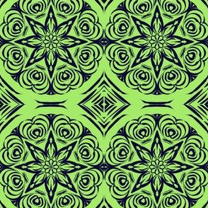 Tribal Star and Diamond Carvings on Pale Glassy Green with Blackberry