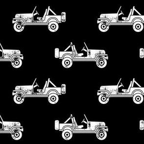 jeeps - white on black - LAD19