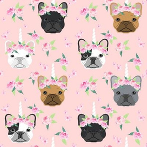 frenchie unicorn crown fabric - french bulldog unicorn, frenchie unicorn dog, frenchicorn dog, floral crown - light pink