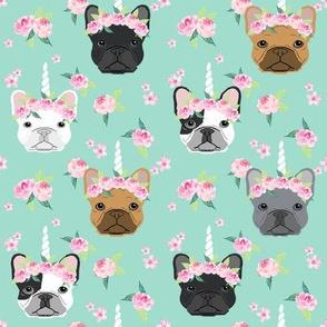frenchie unicorn crown fabric - french bulldog unicorn, frenchie unicorn dog, frenchicorn dog, floral crown - mint