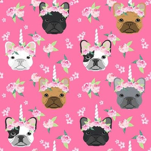 frenchie unicorn crown fabric - french bulldog unicorn, frenchie unicorn dog, frenchicorn dog, floral crown - pink