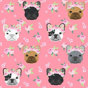 frenchie floral crown fabric, french bulldog flowers fabric, flower crown dog, dog portrait fabric - pink