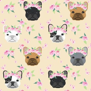 frenchie floral crown fabric, french bulldog flowers fabric, flower crown dog, dog portrait fabric - cream