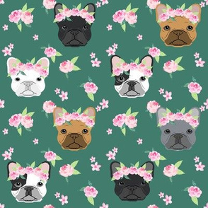 frenchie floral crown fabric, french bulldog flowers fabric, flower crown dog, dog portrait fabric - green