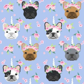 frenchie unicorn crown fabric - french bulldog unicorn, frenchie unicorn dog, frenchicorn dog, floral crown - periwinkle