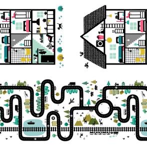 Roadmap (fat quarter size) and dollhouse (fat quarter size)