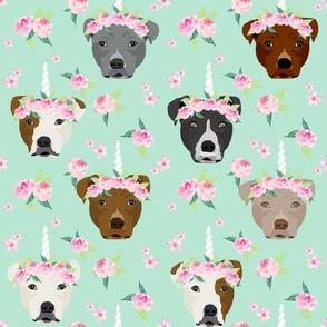 pitbull unicorn crown fabric - dog unicorn fabric, floral crown fabric, flower crown fabric - mint