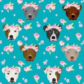 pitbull flower crown fabric - dog flower fabric, dogs floral fabric, pitbulls fabric, pitbull fabric - teal