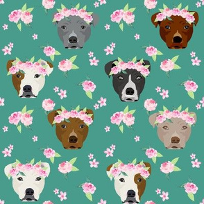 pitbull flower crown fabric - dog flower fabric, dogs floral fabric, pitbulls fabric, pitbull fabric - dark green