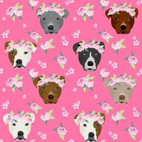 pitbull flower crown fabric - dog flower fabric, dogs floral fabric, pitbulls fabric, pitbull fabric - pink