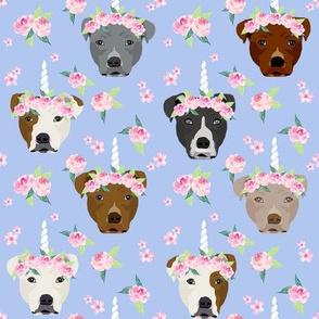 pitbull unicorn crown fabric - dog unicorn fabric, floral crown fabric, flower crown fabric - periwinkle