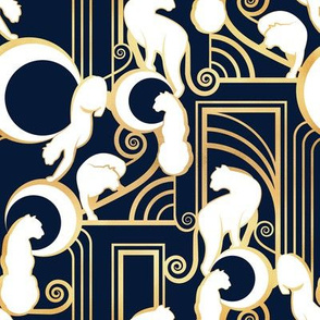 Deco Gatsby Panthers // small scale // navy and gold