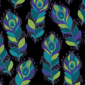 Peacock Feathers Ornate on Black