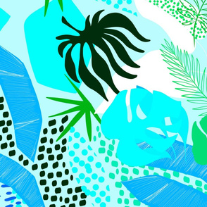 Tropical Foliage - Blue and Green Boho