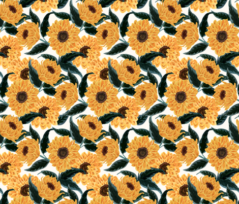 sunflowers-golden fabric by crystal_walen on Spoonflower - custom fabric