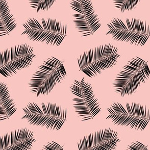 Palm leave summer jungle sweet surf theme tropical garden print pink blush black SMALL