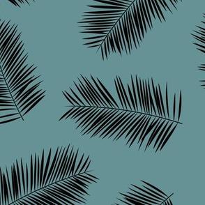 Palm leave summer jungle sweet surf theme tropical garden print blue black