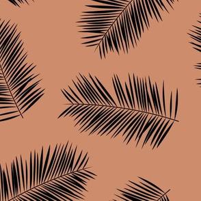 Palm leave summer jungle sweet surf theme tropical garden print copper black