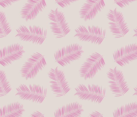 Palm leave summer jungle sweet surf theme tropical garden print pink monochrome pink beige fabric by littlesmilemakers on Spoonflower - custom fabric