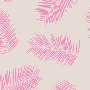 Palm leave summer jungle sweet surf theme tropical garden print pink monochrome pink beige