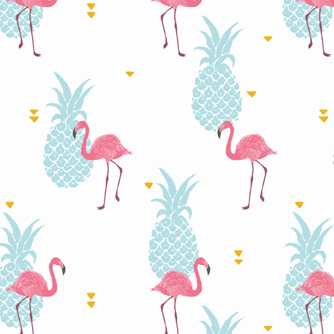 Pink Flamingo - brighter colors fabric by innamoreva on Spoonflower - custom fabric