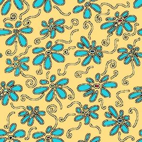 Flower Picnic Yellow and Aqua