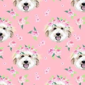 golden doodle flower crown fabric - dog flower crown, dog floral crown, dog florals, watercolor dog florals - pink