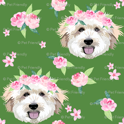 golden doodle flower crown fabric - dog flower crown, dog floral crown, dog florals, watercolor dog florals - green