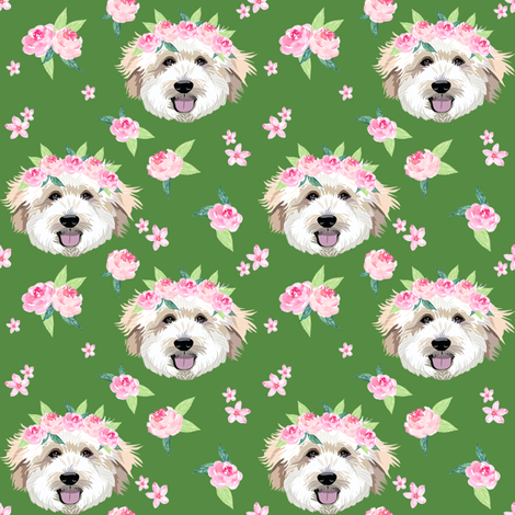 golden doodle flower crown fabric - dog flower crown, dog floral crown, dog florals, watercolor dog florals - green fabric by petfriendly on Spoonflower - custom fabric