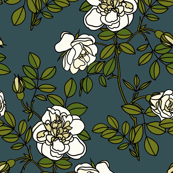 Climbing roses on navy blue - small