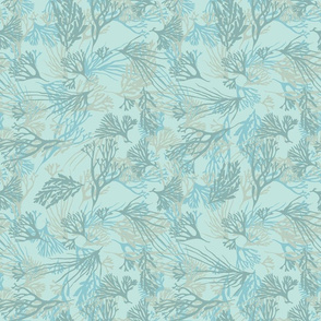 Seaweed Pale Tones of Light Blues and Greens