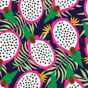Dragonfruit Pitaya Tropical Fruit Navy Background