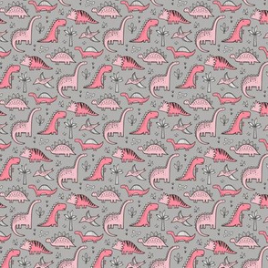 Dinosaurs Pink on Grey Tiny Small 1 inch