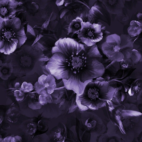 Moody Florals greyblueish by Odette Lager